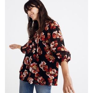Madewell #477 Bubble Sleeve Floral French Rose Top
